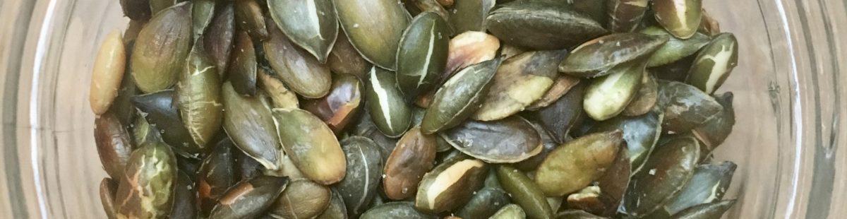 Gresskarkjerner-risted sunn snacks
