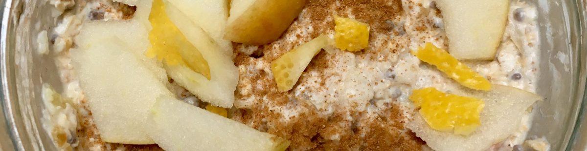 Eple, sitron, kefir & havre Kjøleskapsgrøt- Bircher Muesli