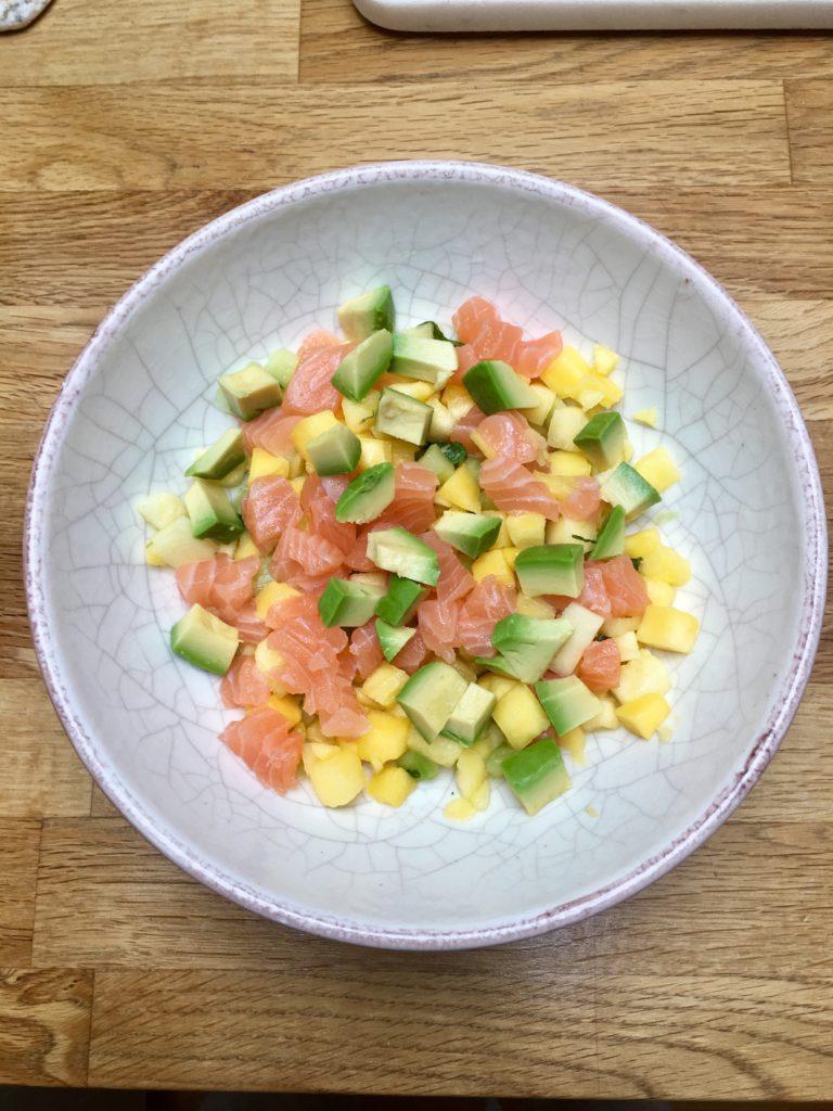 Ceviche med laks, mango & avokado- Raw