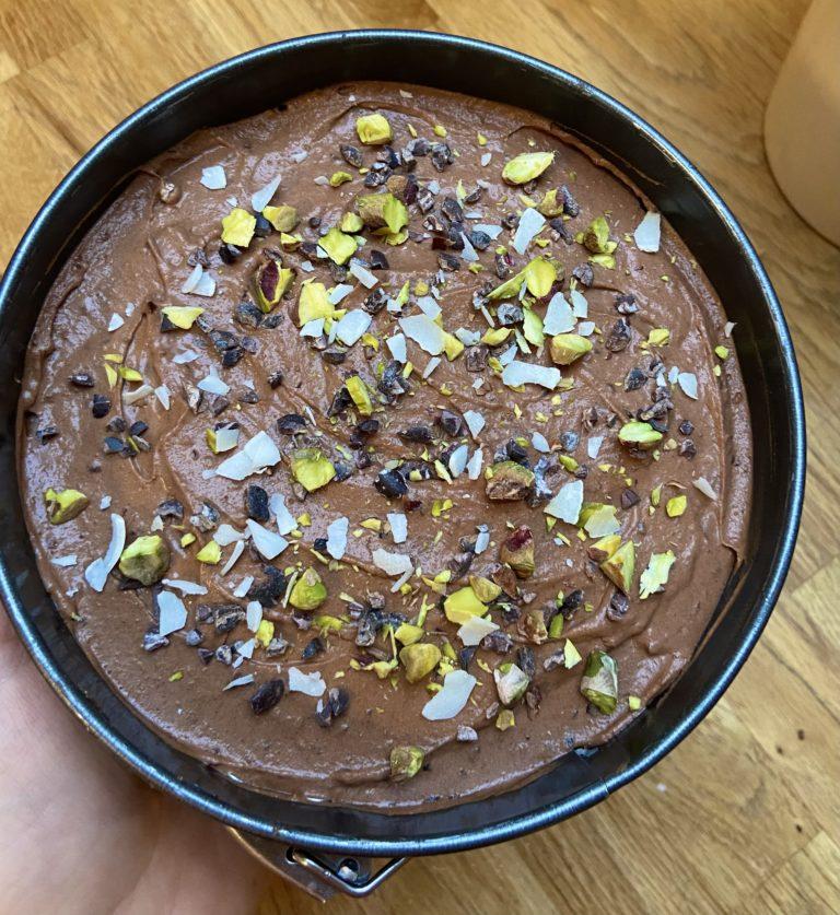 Rå himmelsk vegansk glutenfri sjokoladekake